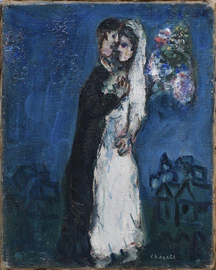 I fidanzati su sfondo blu