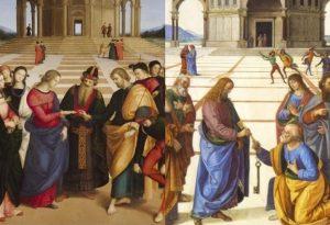"""""""Sposalizio della Vergine"""" di Raffaello a confronto con Perugino"""