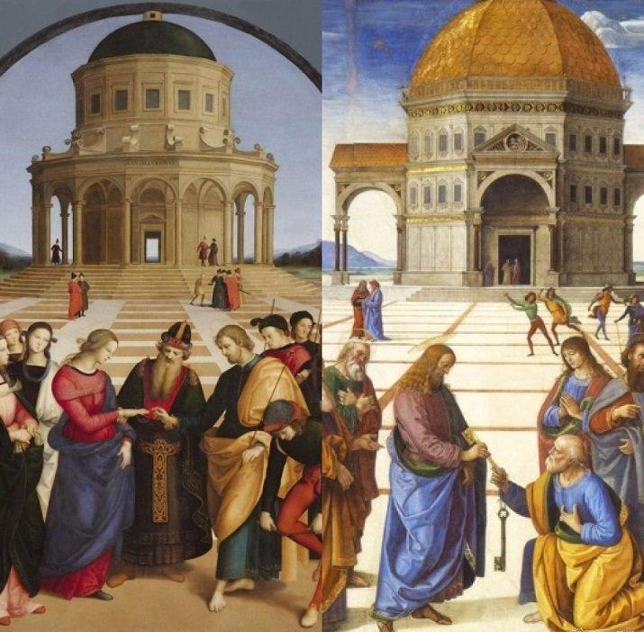 'Sposalizio della Vergine' di Raffaello. 'Consegna delle Chiavi' di Perugino