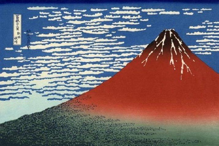 """Le """"Trentasei vedute del monte Fuji"""" di Hokusai. Il Fujii durante il tempo sereno. Il Fuji rosso"""