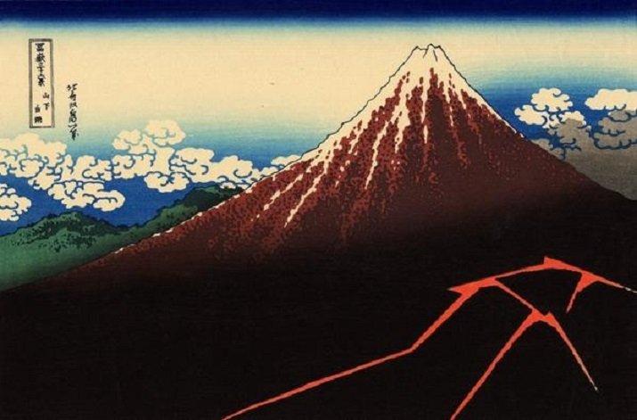 """Le """"Trentasei vedute del monte Fuji"""" di Hokusai. Il temporale sotto la cima"""