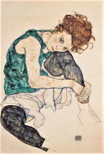 """""""Donna seduta con un ginocchio piegato"""". Schiele in amore"""