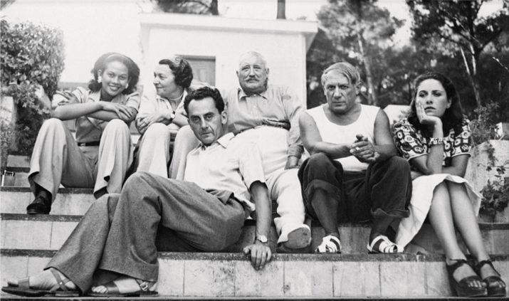 """""""Ady Fidelin, Mary Cuttoli, Man Ray Paul Cuttoli, Pablo Picasso e Dora Maar alla casa dei Cuttoli"""" di Man Ray, 1937"""
