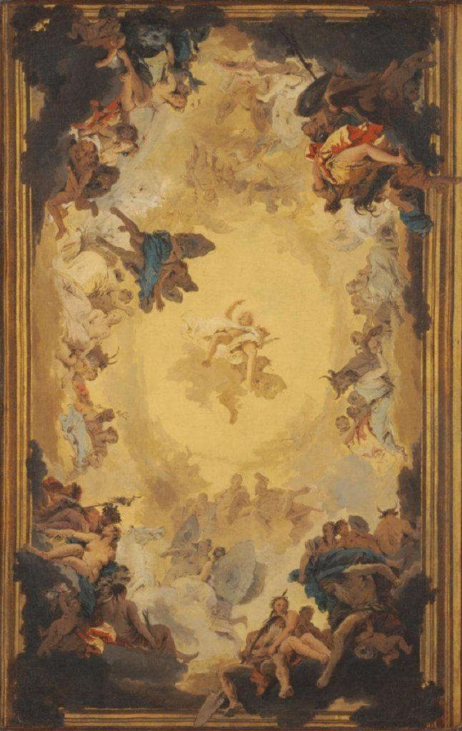 """""""Apollo tra gli dei dell'Olimpo e altre divinità"""" di Giambattista Tiepolo"""