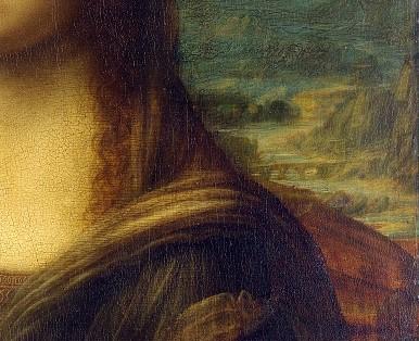 "La ""Gioconda"" di Leonardo da Vinci. Dettaglio ponte"
