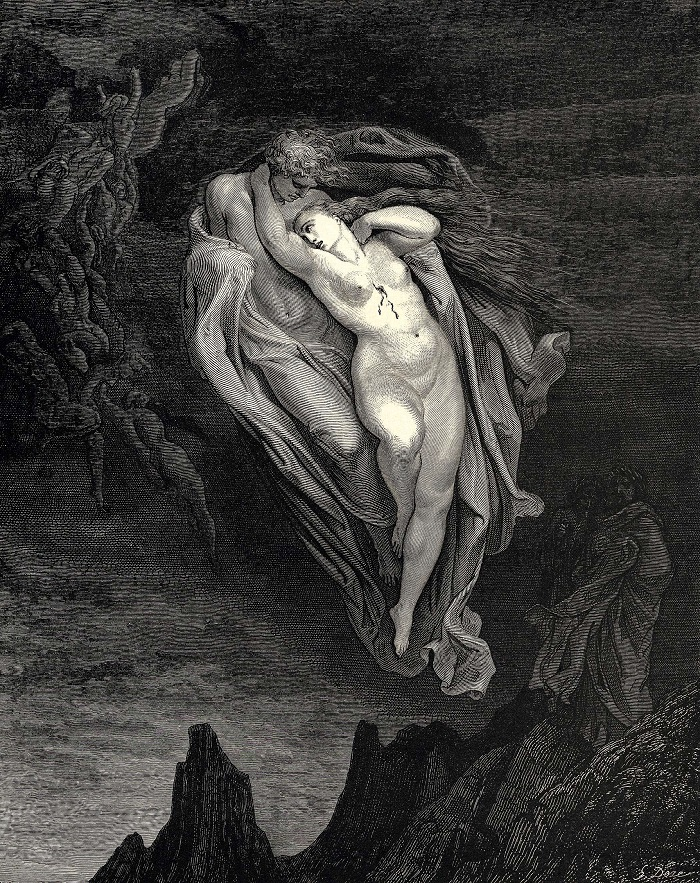 """""""Paolo e Francesca - Inferno"""" di Gustave Dorè. Le illustrazioni della Divina Commedia di Dante"""