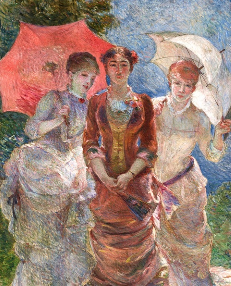 """""""Tre dame con gli ombrellini"""" di Marie Bracquemond"""