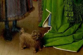 """""""I coniugi Arnolfini"""" di Jan Van Eyck. Dettaglio cane"""