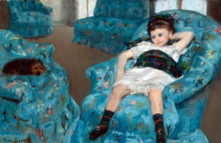 """Bambina su una poltrona blu"" di ""Morning awakening"" di Mary Cassatt"
