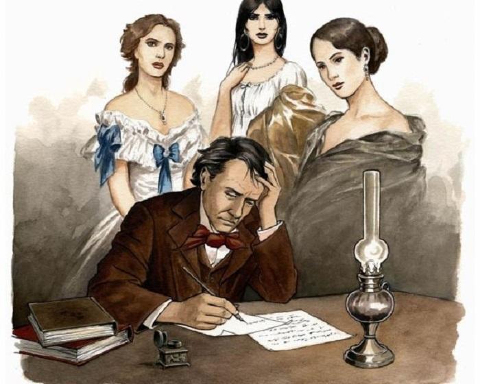 Illustrazione di Charles Baudelaire con le sue Muse di Laurent Paturaud