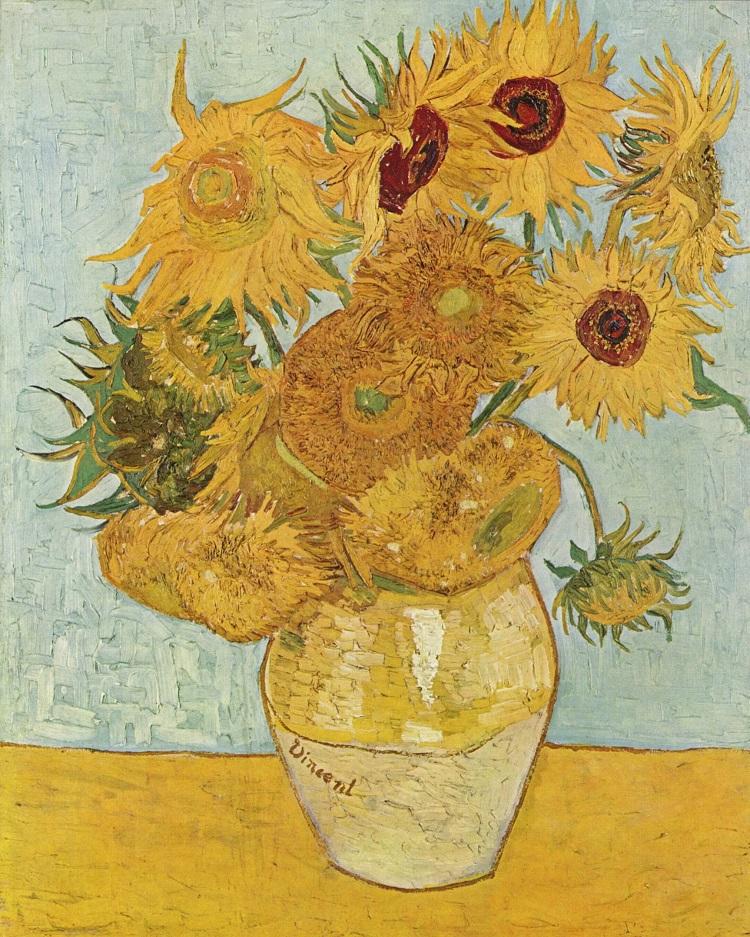 """Vaso con dodici girasoli"" di Vincent van Gogh 1888"