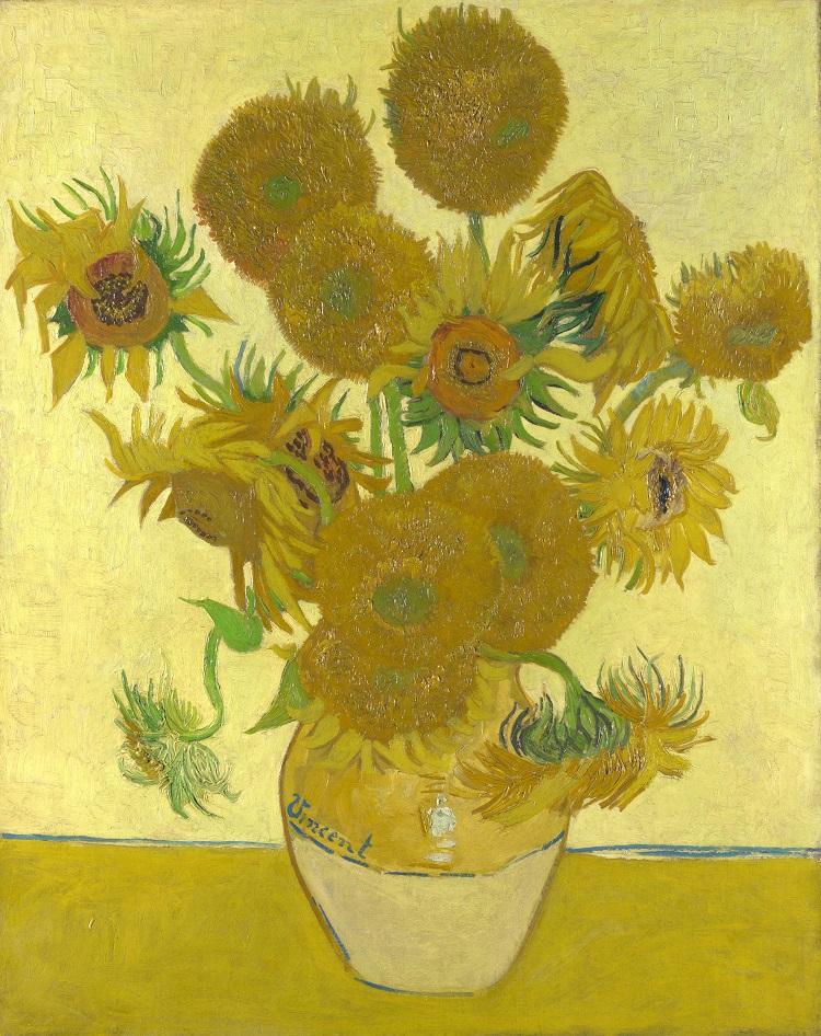 """""""Vaso con quindici girasoli"""" di Vincent van Gogh 1888"""