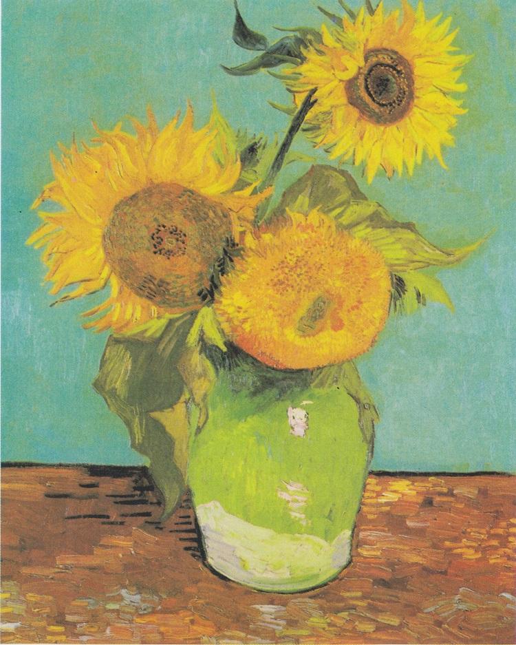 """Vaso con tre girasoli"" di Vincent van Gogh"