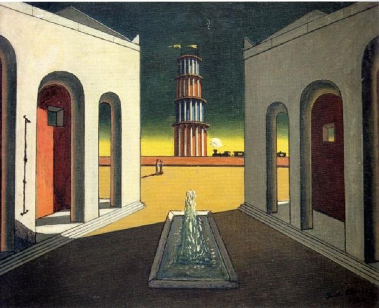 """""""Piazza d'Italia con fontana"""" di Giorgio De Chirico"""