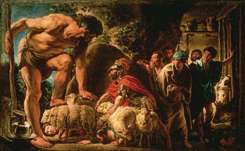"""""""Ulisse e i compagni escono dall'antro di Polifemo"""" di Jacob Jordaens"""