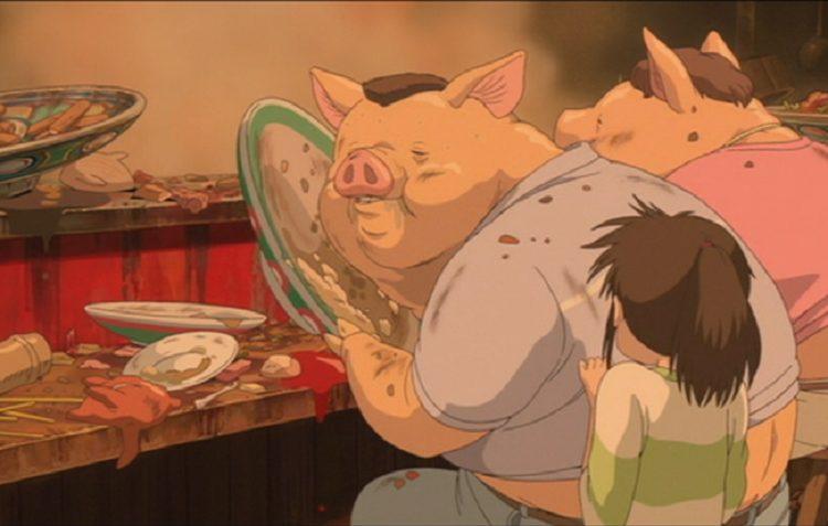 I genitori di Chihiro trasformati in maiali
