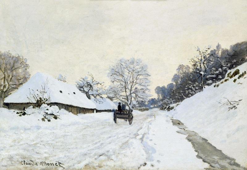 """Calesse. Strada sotto la neve a Honfleur"" di Claude Monet"