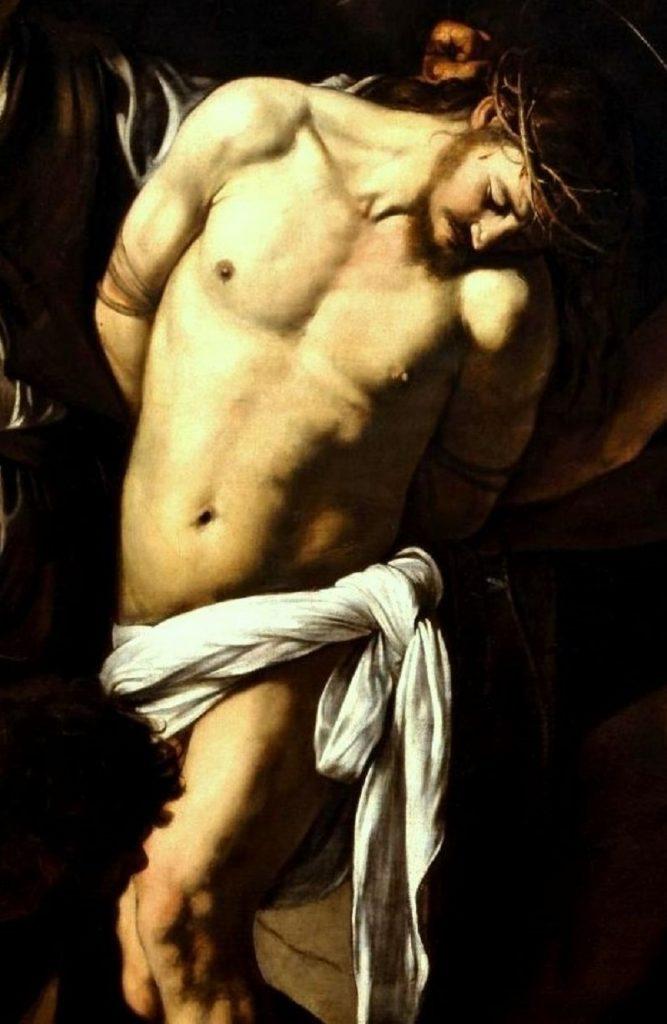 """La """"Flagellazione di Cristo"""" di Caravaggio. Dettaglio corpo di Gesù"""