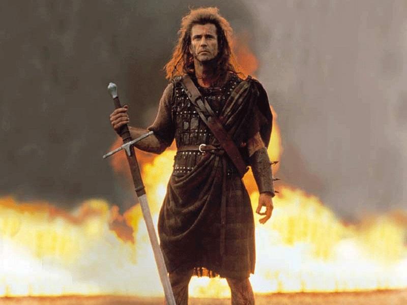 William Wallace in Braveheart di Mel-Gibson